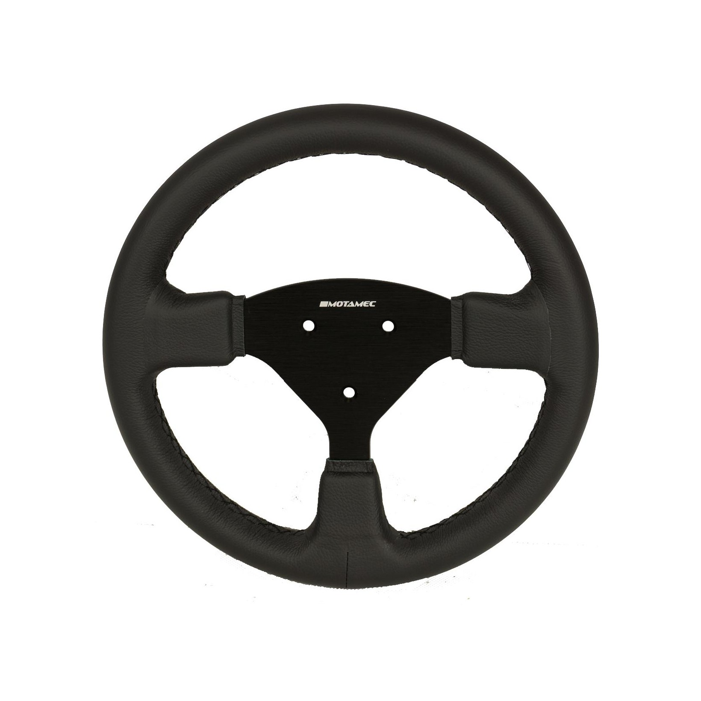 Motamec Pro Race Rally Steering Wheel Flat 3 Spoke 350mm Black Suede Black Spokes