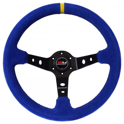 Motamec Rally Steering Wheel Deep Dish 350mm Blue Suede Black Spoke
