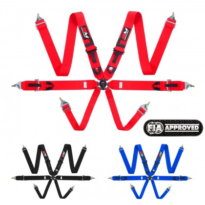 """Motamec Racing 6 Point Harness FIA Approved 3"""" Alloy Adjusters 8853-2016"""