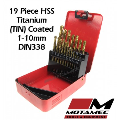 Motamec 19 Piece Titanium HSS Drill Bits Set 1-10mm High Quality DIN338 Metal