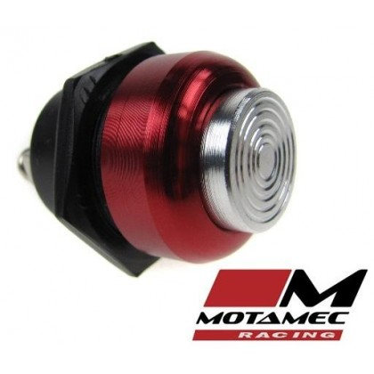 Motamec Racing Alloy  Push Button Switch Silver / Red Surround