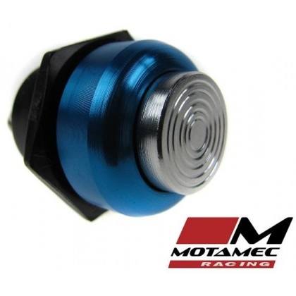 Motamec Racing Alloy Push Button Switch Silver / Blue Surround