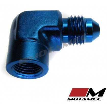 "Motamec AN JIC -4 AN4 to 1/8"" NPT Forged 90 Degree Male to Female Adapter"