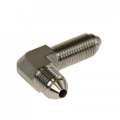 Motamec 3/8 UNF -3 AN Male to Male 90 Degree Stainless Steel Brake Fitting