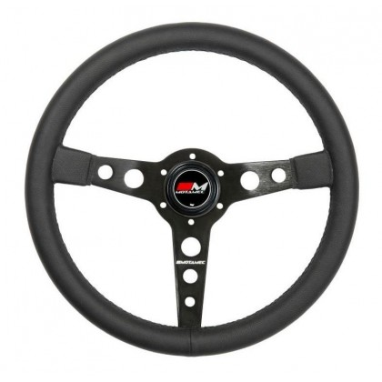 Motamec Classic Steering Wheel 350mm Black Leather Black Spoke Historic Retro