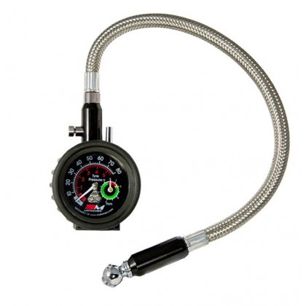 Motamec Motorsport Tyre Pressure Gauge Dial & Tread Depth Flexible Hose 0-80 psi