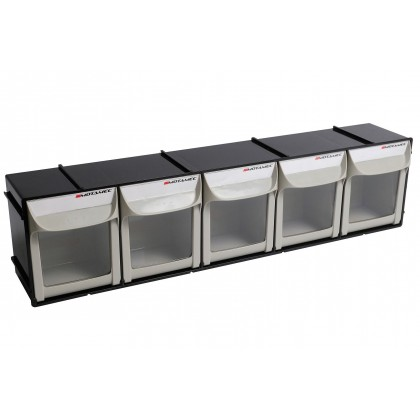 Motamec Modular Tilt Bin System Parts Storage Wall Compartment Bins - Large 5x1