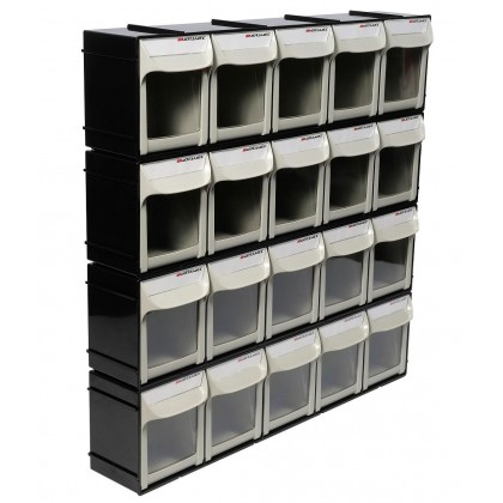 Motamec Modular Tilt Bin Parts Storage Wall Compartment 4 LARGE Units / 20 Bins
