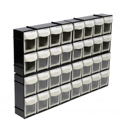 Motamec Modular Tilt Bin Parts Storage Wall Compartment 4 SMALL Units / 32 Bins