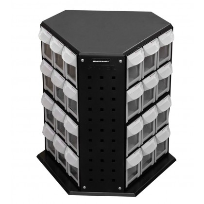 Motamec Rotating Tower Tilt Bin Parts Storage Compartment Bins - 36 Drawers