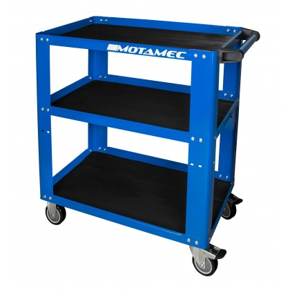 Motamec Professional Workshop / Garage Tool Trolley 3 Shelf Cart Blue