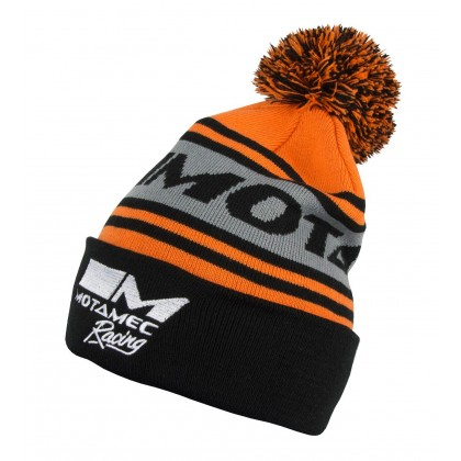 Motamec Racing Fleece Bobble Hat - Knitted Beanie Orange