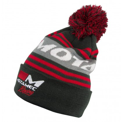 Motamec Racing Fleece Bobble Hat - Knitted Beanie Gray