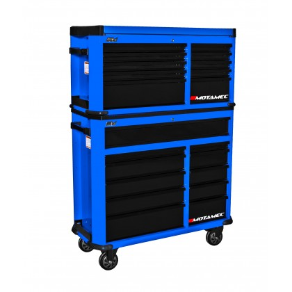 Motamec Motorsport M94 Large Roller Cabinet + Top Tool Chest RollCab Box Blue/BK