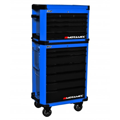 Motamec Motorsport M90 Roller Cabinet + Top Tool Chest RollCab Box Blue/Black