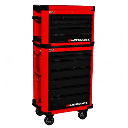 Motamec Motorsport M90 Roller Cabinet + Top Tool Chest RollCab Box Red / Black