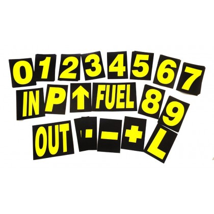 Motamec Large Pro Motorsport Race Pit Board Numbers Set YELLOW 24cm High